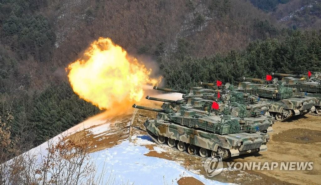 韩军K2主战坦克射击训练