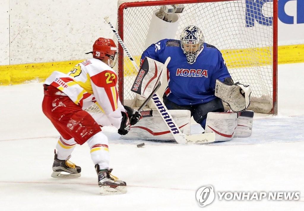 韩国冰球队3-2战胜中国队