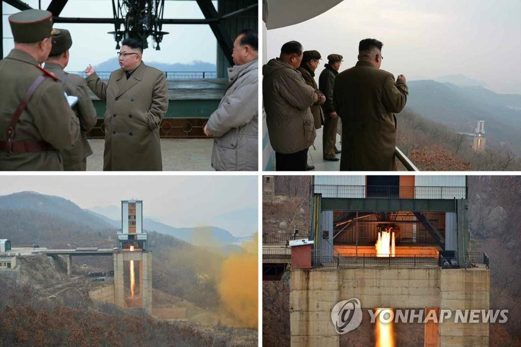 简讯:金正恩参观新型大功率火箭发动机点火试验