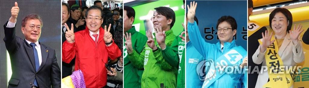 韩总统候选人拉票活动现场照