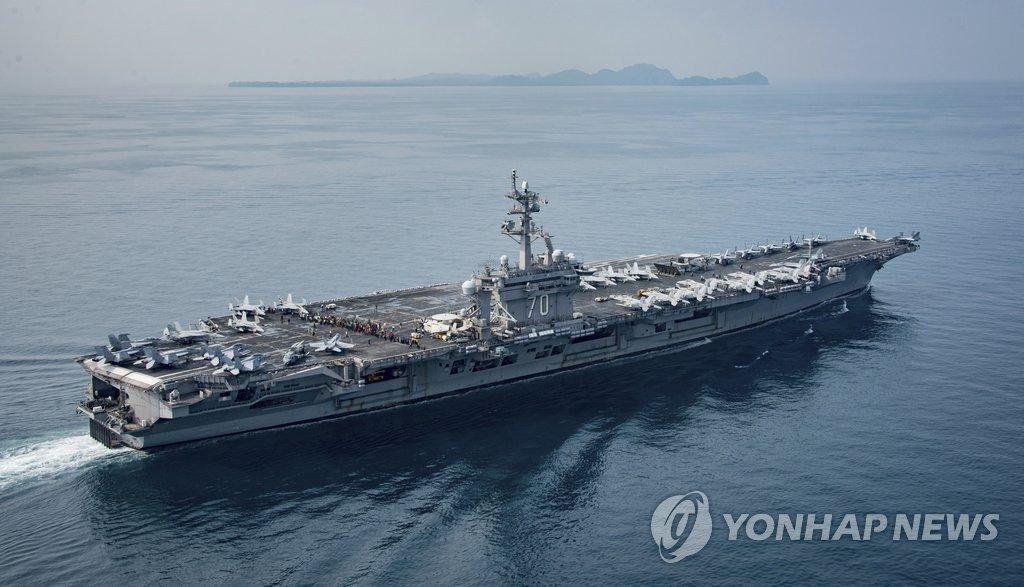 """美""""卡尔·文森""""号航母周末与韩军举行联演"""
