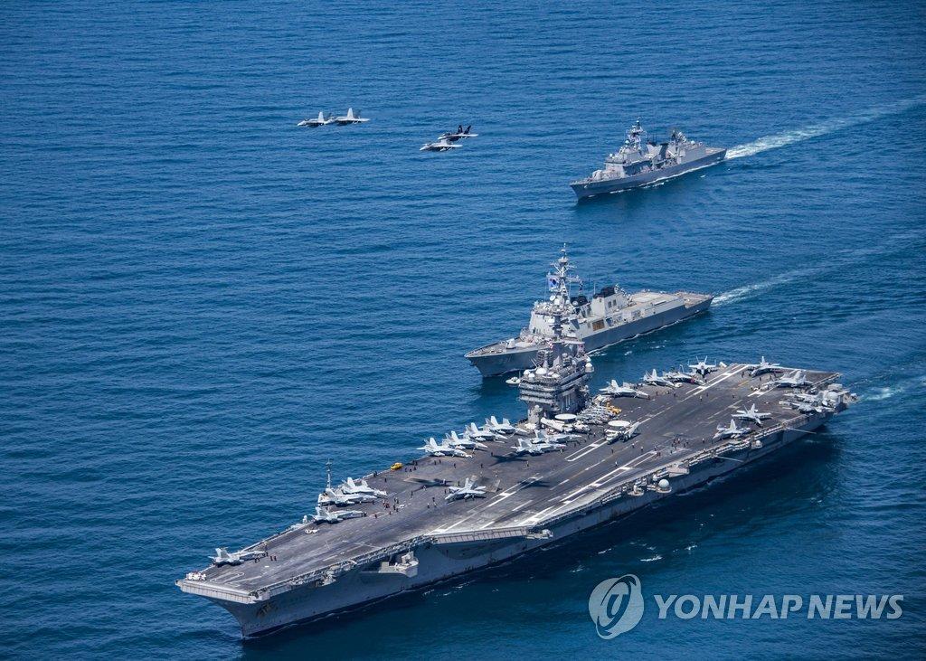 """资料图片:美国""""卡尔·文森""""号航空母舰(韩联社)"""