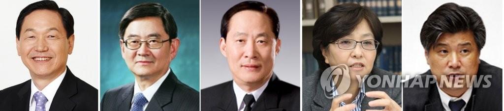 左起依次为金相坤、安京焕、宋永武、金恩京和赵大烨(韩联社)