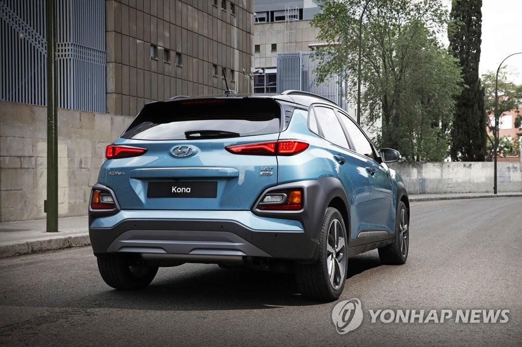 """资料图片:6月13日,现代汽车发布了首款小型SUV汽车""""Kona""""。(韩联社)"""