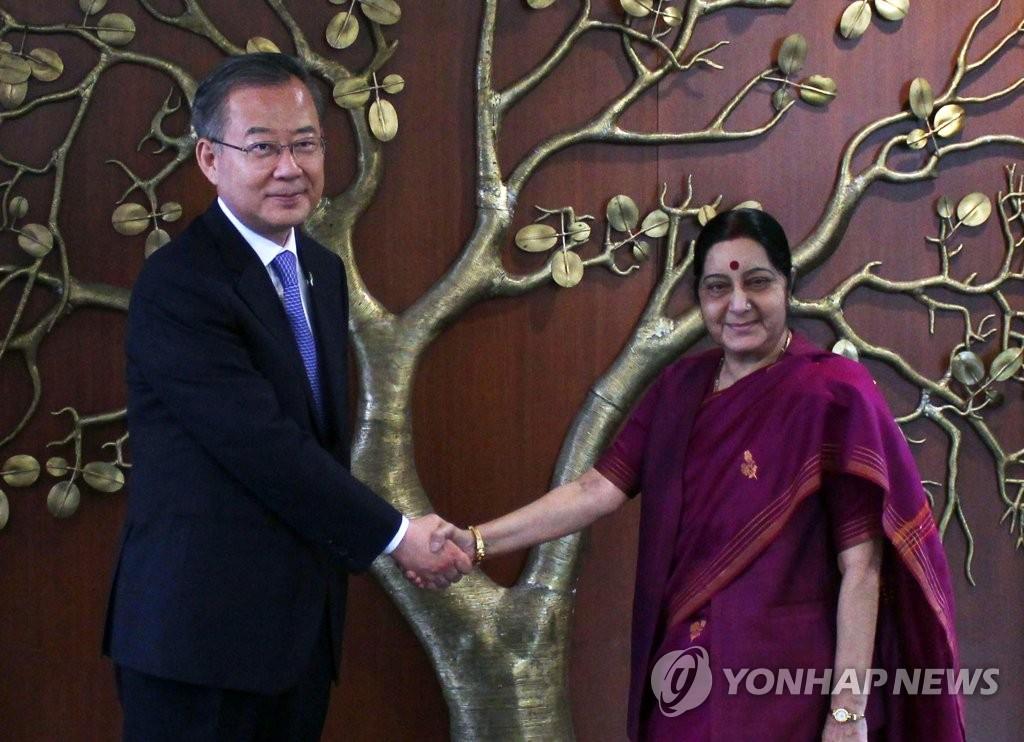 韩总统特使与印度外长握手