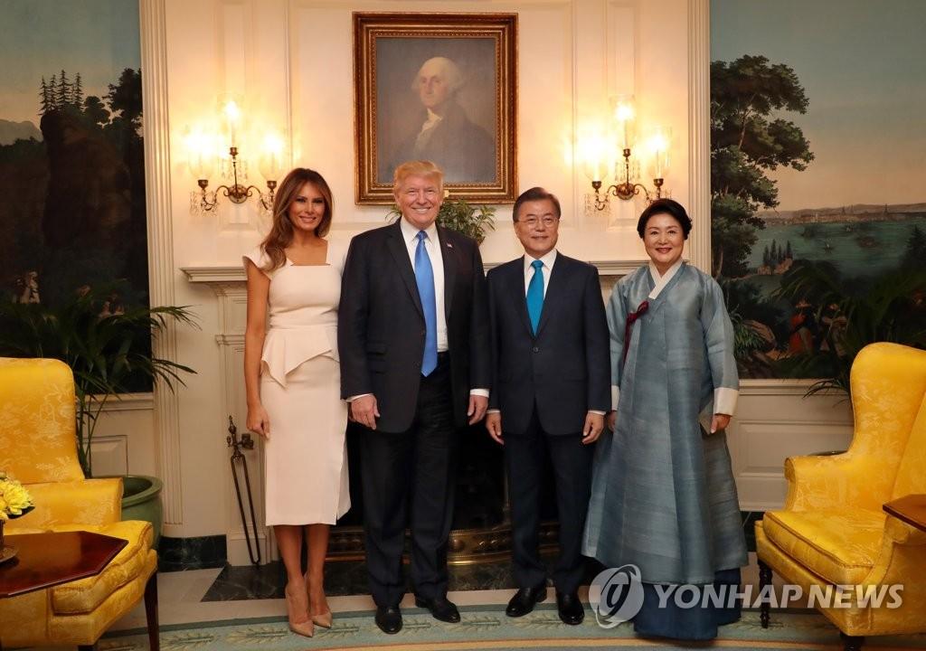 文在寅夫妇出席白宫欢迎晚宴