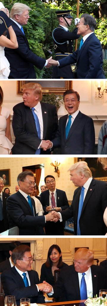 韩美元首会晤 特朗普握手神功上演