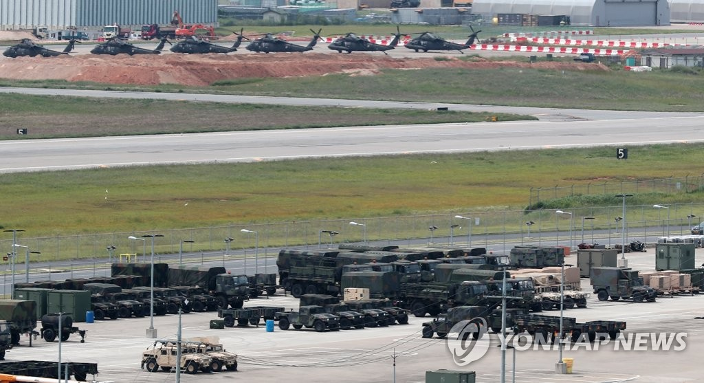 资料图片:图为位于京畿道平泽市的驻韩美军平泽基地,摄于9月4日。(韩联社)