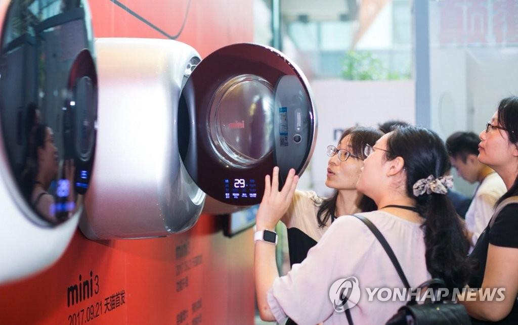 韩产迷你滚筒洗衣机在华上市