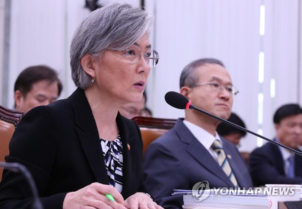 10月12日,在韩国国会,康京和(左)在国政监查会上发言。(韩联社)