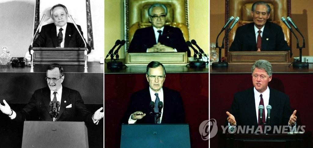 在韩国会演讲的美国总统们