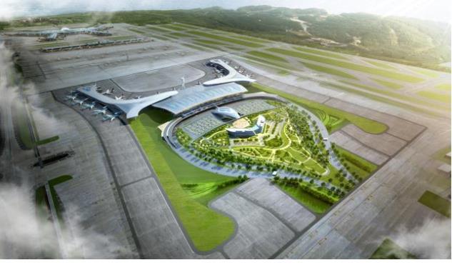 仁川机场第二航站楼鸟瞰图(韩联社/国土交通部提供)