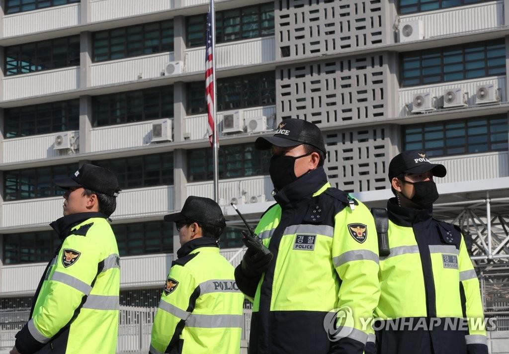 美驻韩使馆前警备森严