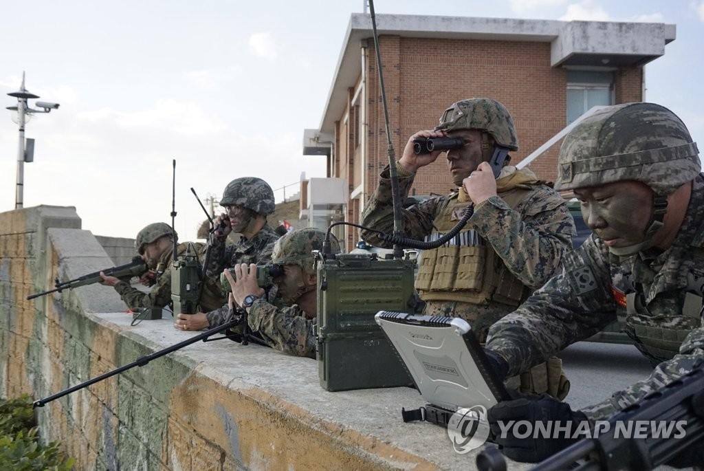 韩美海军陆战队进行空中火力引导演习