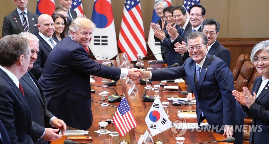 韩美领导人出席扩大会谈