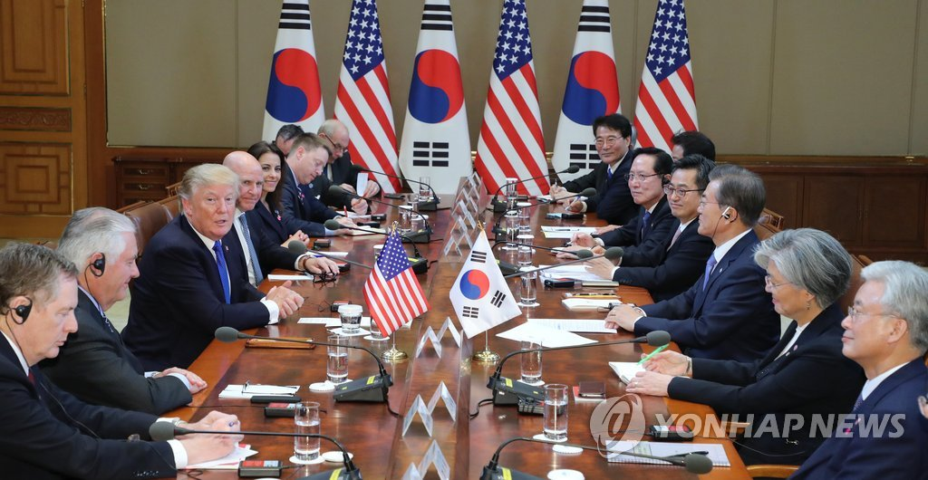 韩美首脑会谈现场