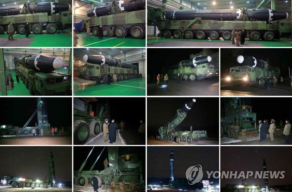 """""""火星-15""""型洲际弹道导弹被装载至9轴导弹发射车上。图片仅限韩国国内使用,严禁转载复制。(韩联社/《劳动新闻》)"""