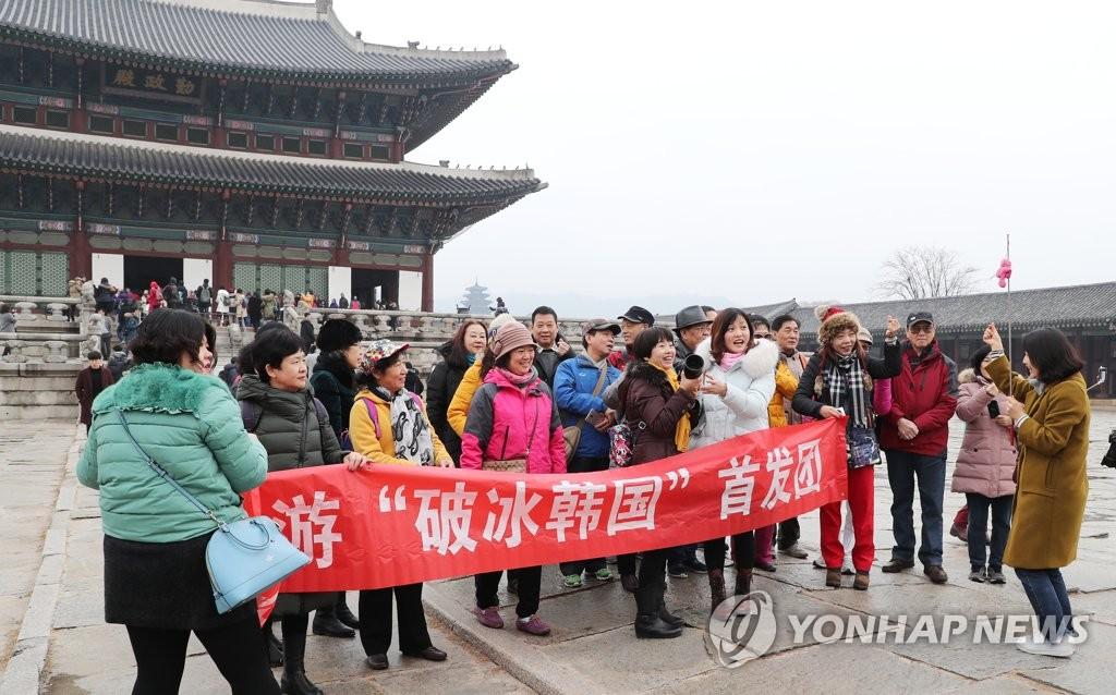中国游客游览景福宫