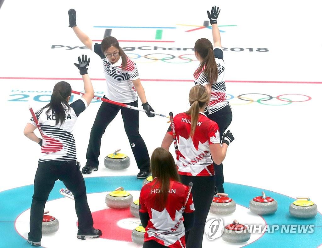 冬奥女子冰壶预赛韩国战胜加拿大队