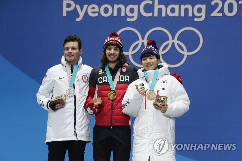 平昌冬奥速滑男子1000米颁奖仪式