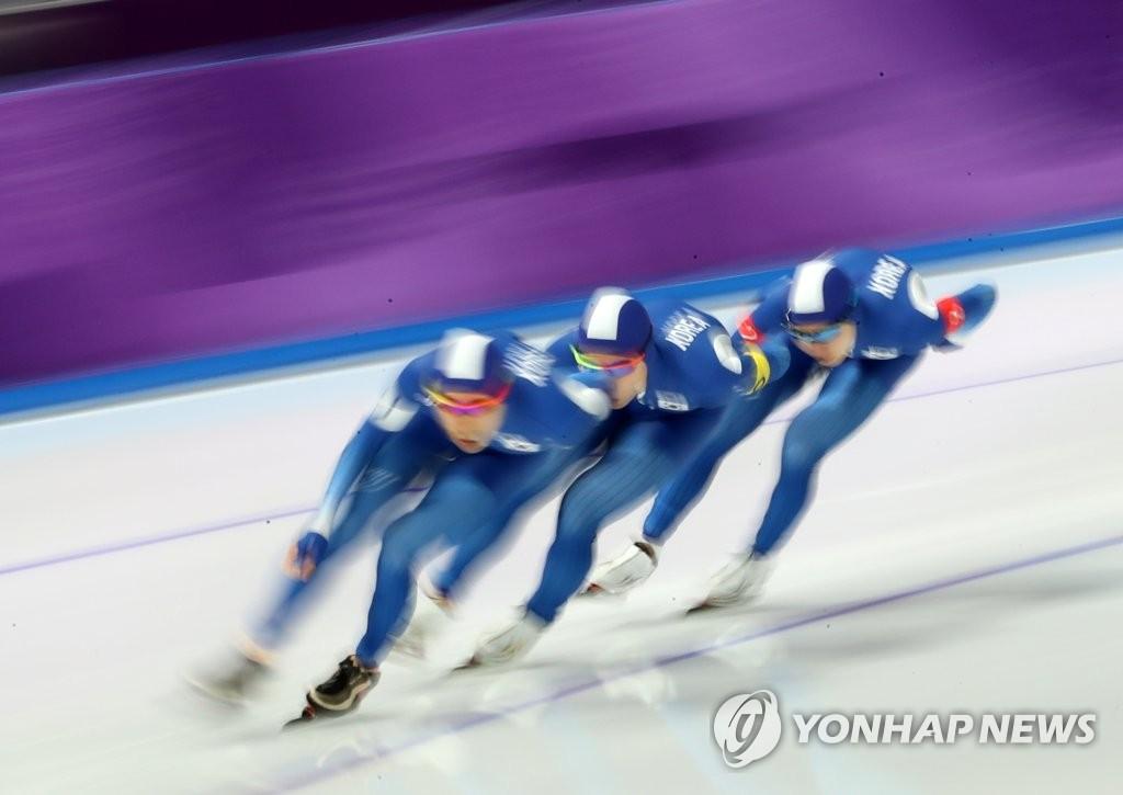 韩速滑队晋级男子团体追逐半决赛