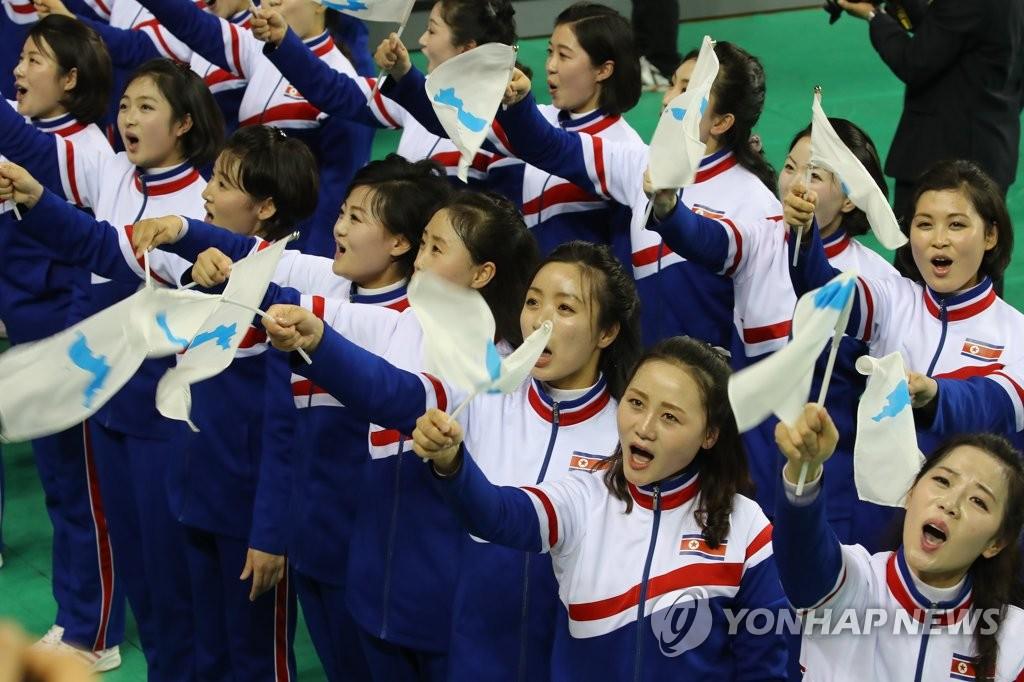 朝鲜拉拉队为韩国市民献艺