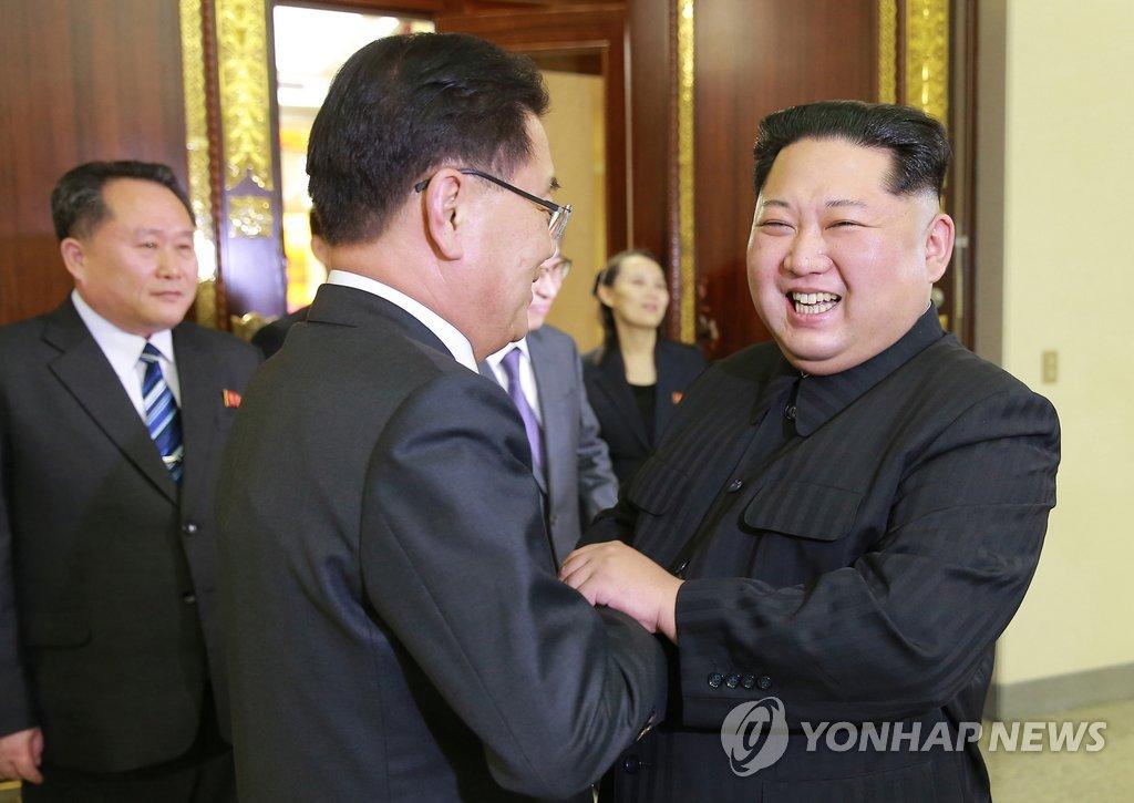 韩总统特使与金正恩握手