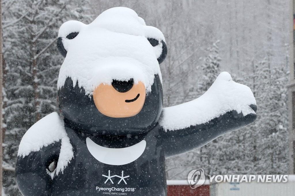 奥运吉祥熊戴上雪帽