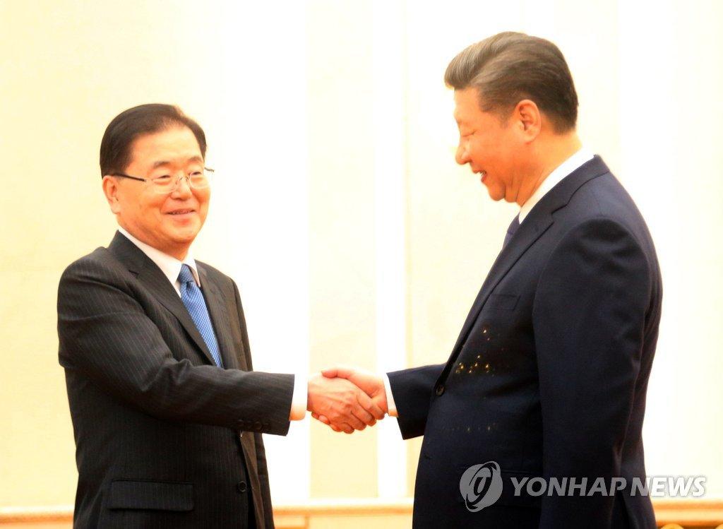 韩总统特使郑义溶会晤中国国家主席习近平