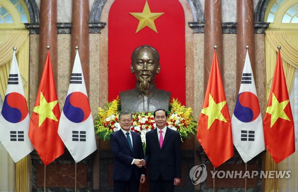 韩越领导人握手