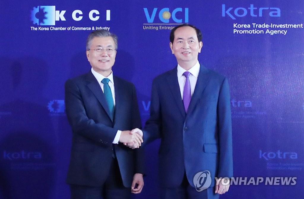 韩越领导人合影