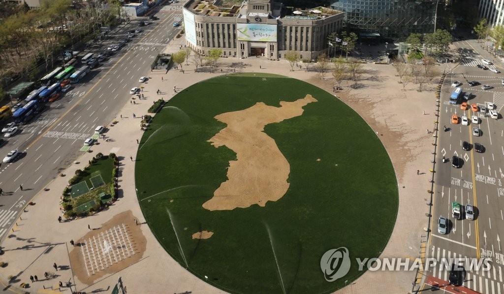 韩半岛地图现身首尔广场