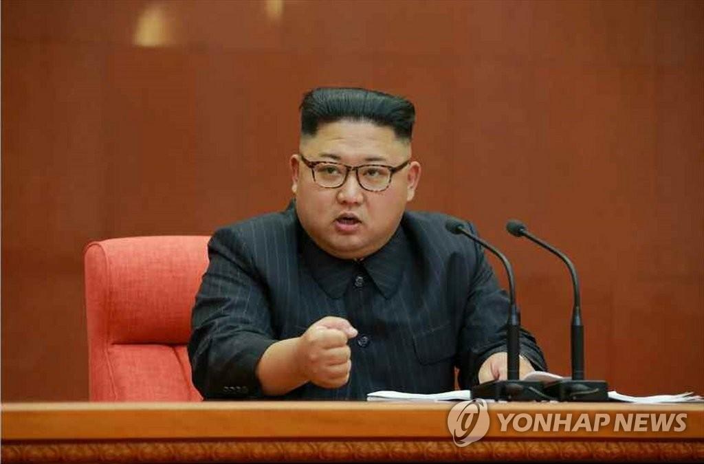 资料图片:金正恩在2017年10月举行的二中全会上发言。图片仅限韩国国内使用,严禁转载复制。(韩联社/《劳动新闻》)