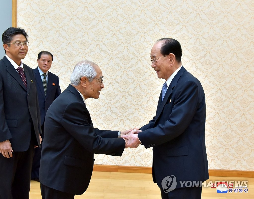 金永南接见旅日朝鲜人总联合会祝贺团