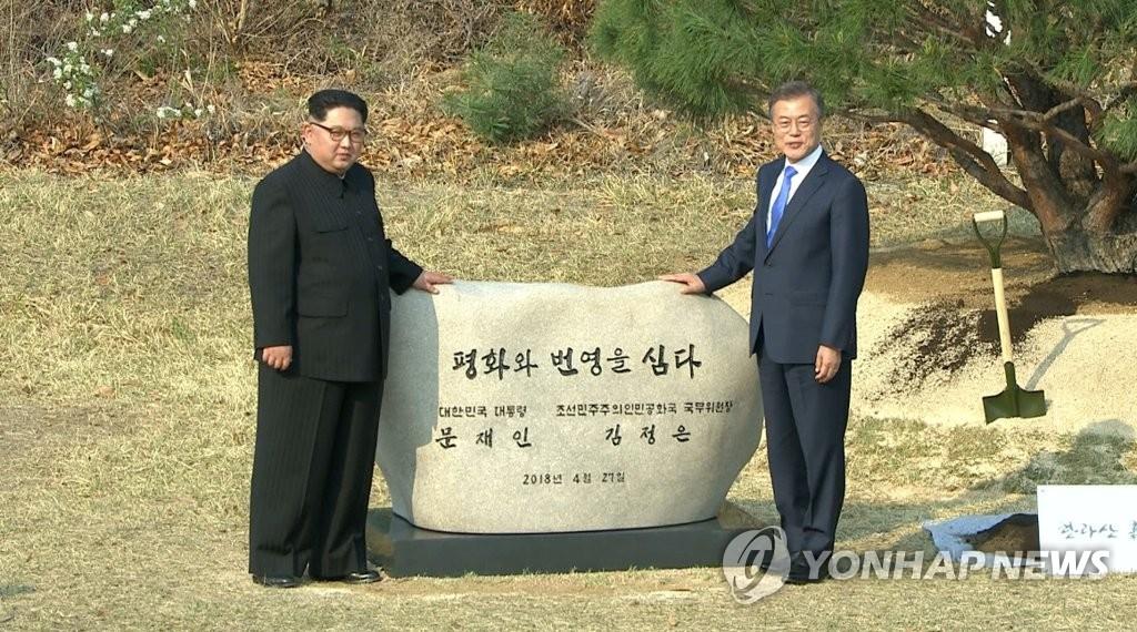 韩朝首脑共同植树