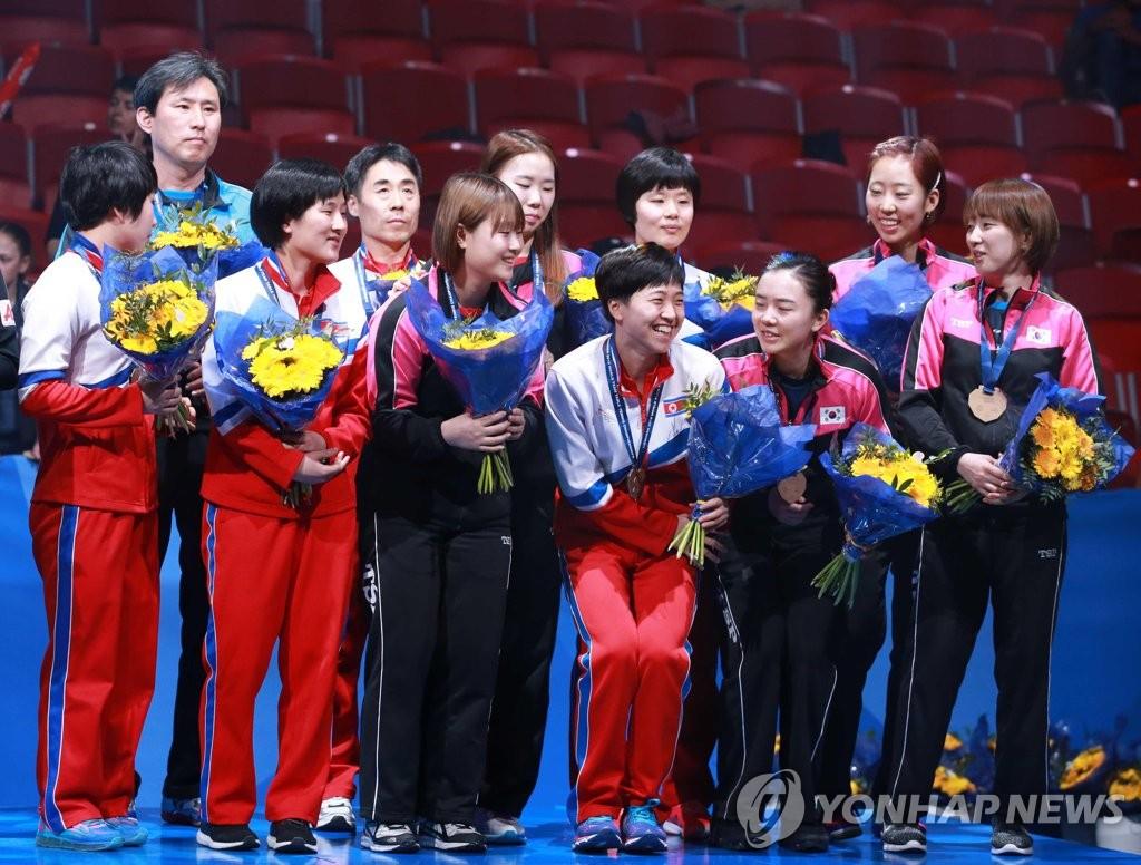 韩朝女乒联队获世乒赛铜牌