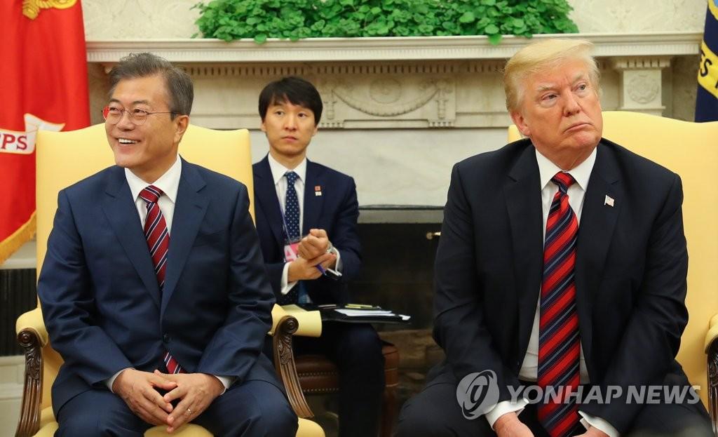 韩美首脑接受记者提问