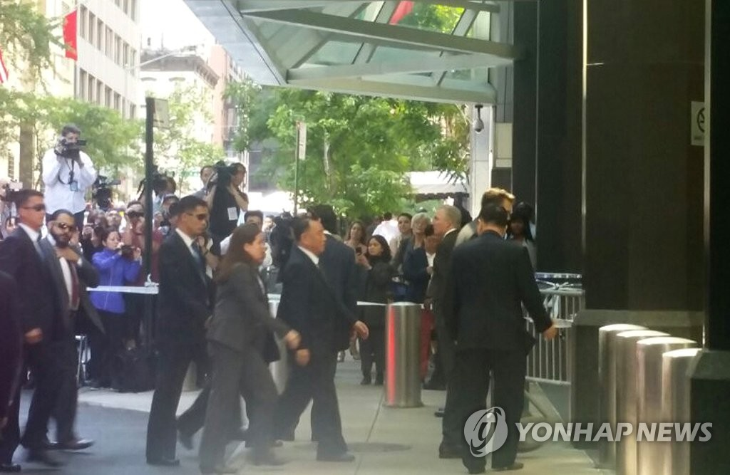 朝鲜统战部长金英哲抵达纽约