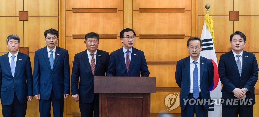 韩朝高级别会谈韩方代表召开记者会