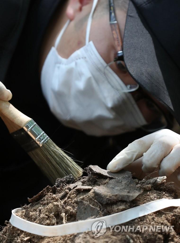 韩战死者遗骨挖掘现场