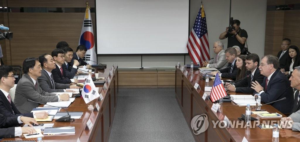 资料图片:2018年6月26日上午,在首尔瑞草区国立外交院,韩美为签署第10份防卫费分担协定开展第4轮谈判。(韩联社)