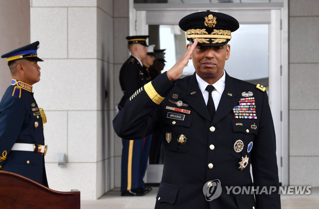 6月29日,在位于京畿道平泽的驻韩美军基地汉弗莱营,韩美联合司令部司令文森特•布鲁克斯出席了开馆仪式。(韩联社/联合摄影团)