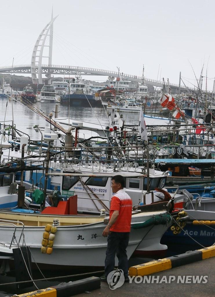 台风前的渔港