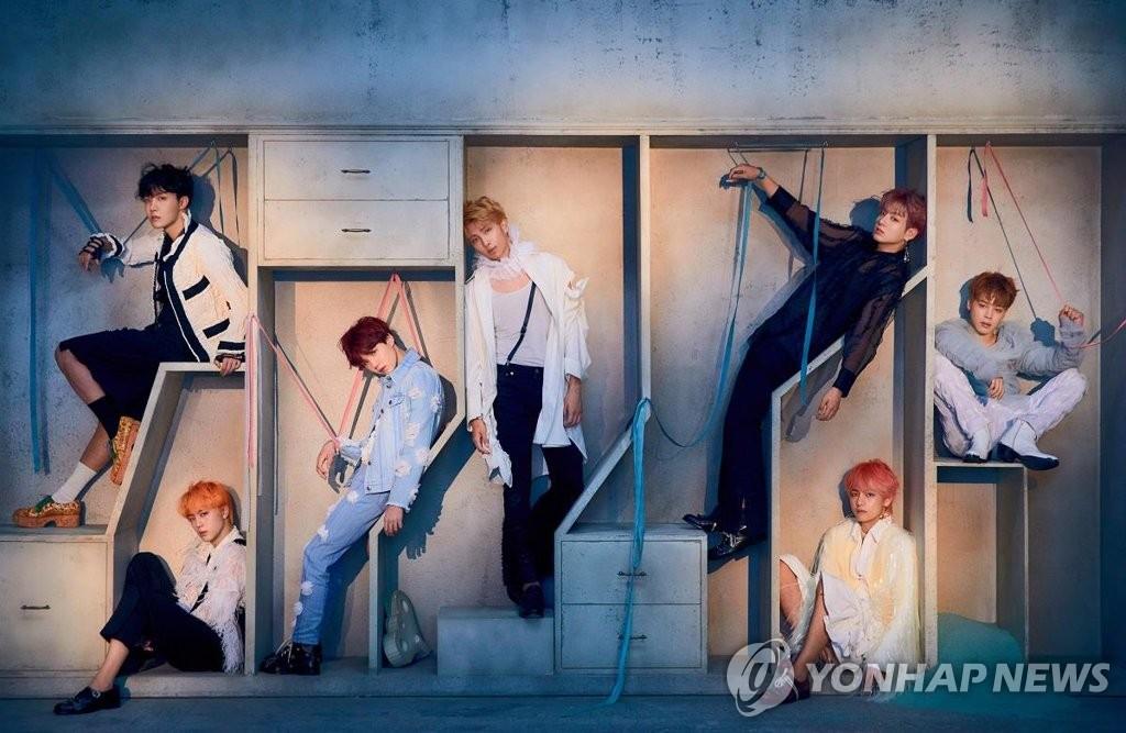 《FAKE LOVE》重装版专辑照(韩联社/Big Hit娱乐供图)
