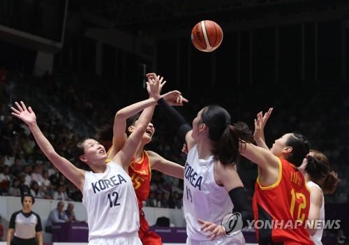 亚运女篮韩朝联队不敌中国摘银