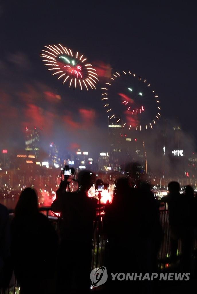 资料图片:2018首尔世界烟花节现场 韩联社