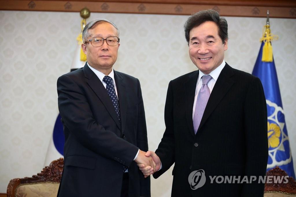 韩总理李洛渊会见天津市委书记李鸿忠
