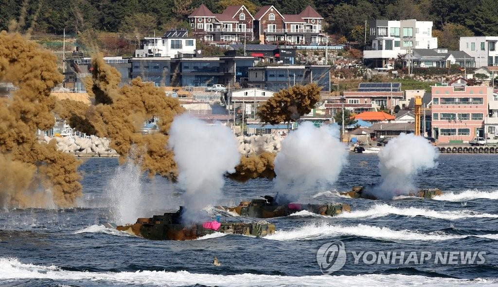 韩美海军陆战队联演时隔半年重启