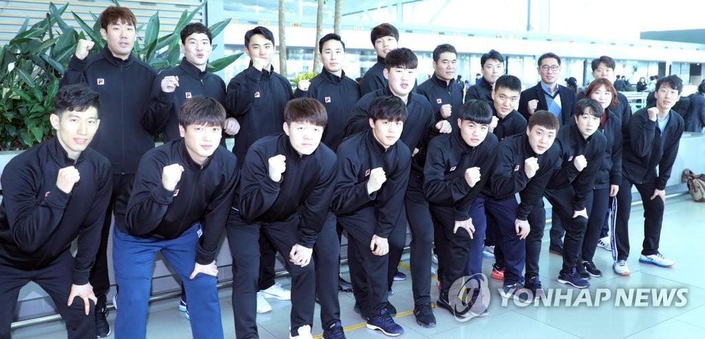 韩男子手球队赴德与朝合训备战世锦赛