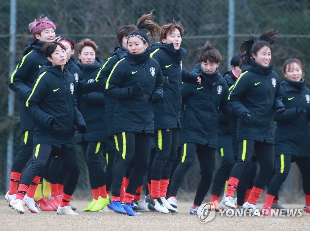 集训中的韩国女足(韩联社)